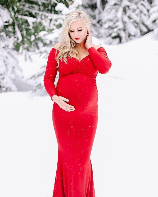long sleeve maternity dress, Long Sleeve Maternity Dress, Chloe Fitted Maternity Gown, Off the Shoulder Maternity Gown, Long Sleeve Maternity Gown
