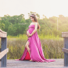open belly maternity dress, Maxi formal gown with ruffle, maternity gown, dress, bridesmaid, photography, photoshoot, jersey knit, sweetheart neckline