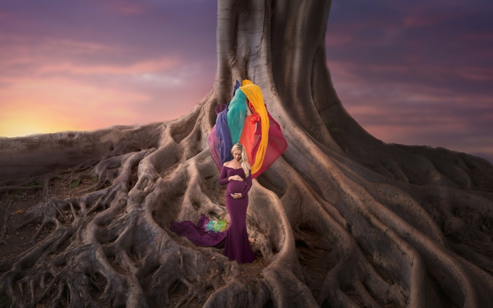 Rainbow maternity gown, rainbow gown for photo shoot, rainbow dress photography, maternity dress photographers