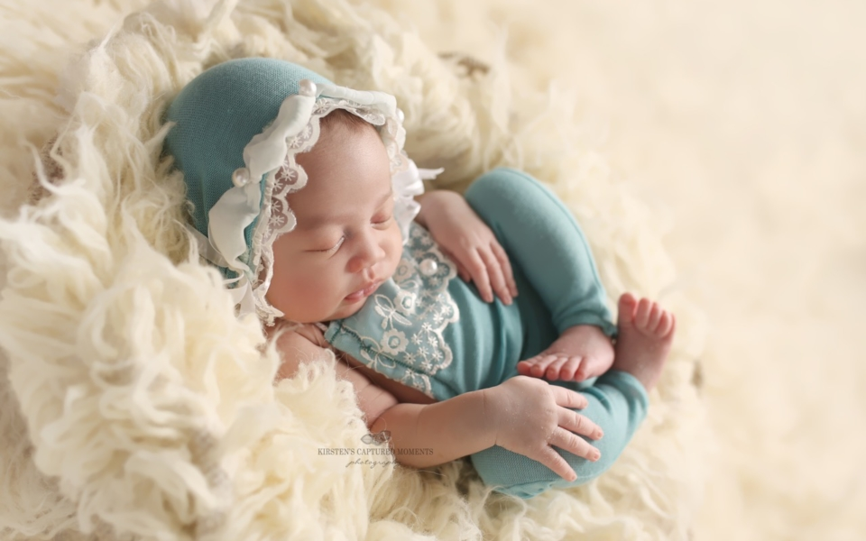 Newborn Photo Prop, robins egg sweater knit and lace romper with matching bonnet