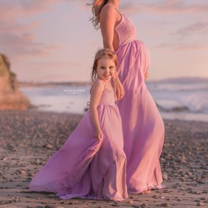 Girls couture gown, tiered chiffon, lace, beach photoshoot