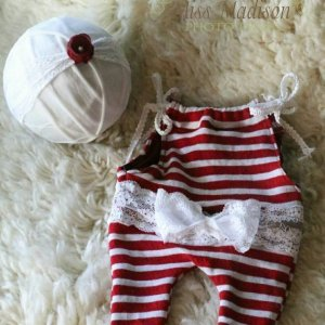 Newborn holiday elf jersey knit romper and headband