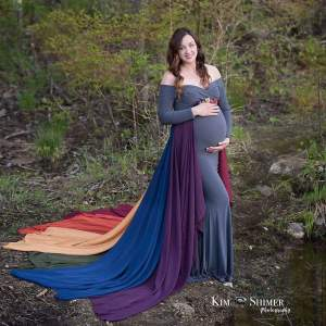 Rainbow gown for photoshoot, maternity dress photography, rainbow maternity dress, jersey knit, off the shoulder long sleeves