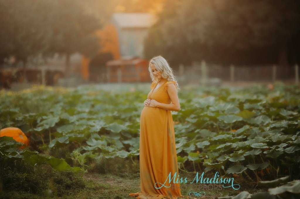 Wraparound maternity gown, Pumpkin field, jersey knit, photography, photo shoot, bridal, baby shower, bridesmaid