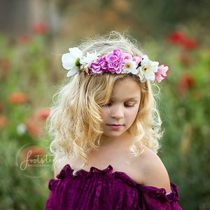 pink ladies flower crown, girls flower crown, girls accessory