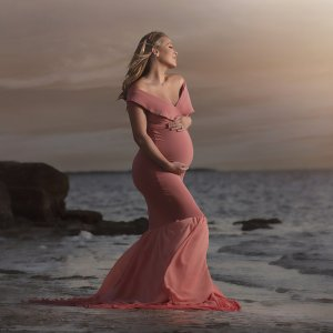 maternity dress with ruffle, fitted maternity dress, off the shoulder maternity dress, off the shoulder dress, Maternity Gown Photo Shoots, jersey knit dress, sweetheart neckline, off the shoulder cap sleeves, extended train