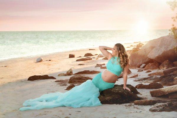 mermaid maternity separate sert, high neck halter, beach maternity shoot, maternity skirt, photography, photoshoot, baby shower