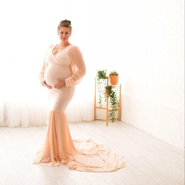 chiffon and knit maternity dress, off the shoulder chiffon puff sleeves