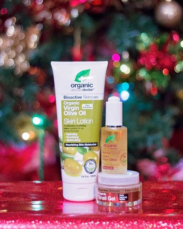 Organic Doctor products in front of Christmas tree make great stocking stuffers