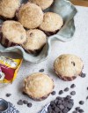 Chocolate Chip Muffins with Sugar Topping Recipe featured by top US food blogger, Miss Molly Moon