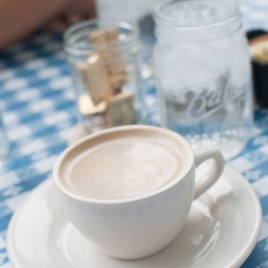 A soy latte at brunch in Athens, GA.