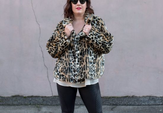 What I'm Wearing for Valentine's Day // Leopard Faux Fur and Faux Leather Spanx Leggings // Miss Molly Moon