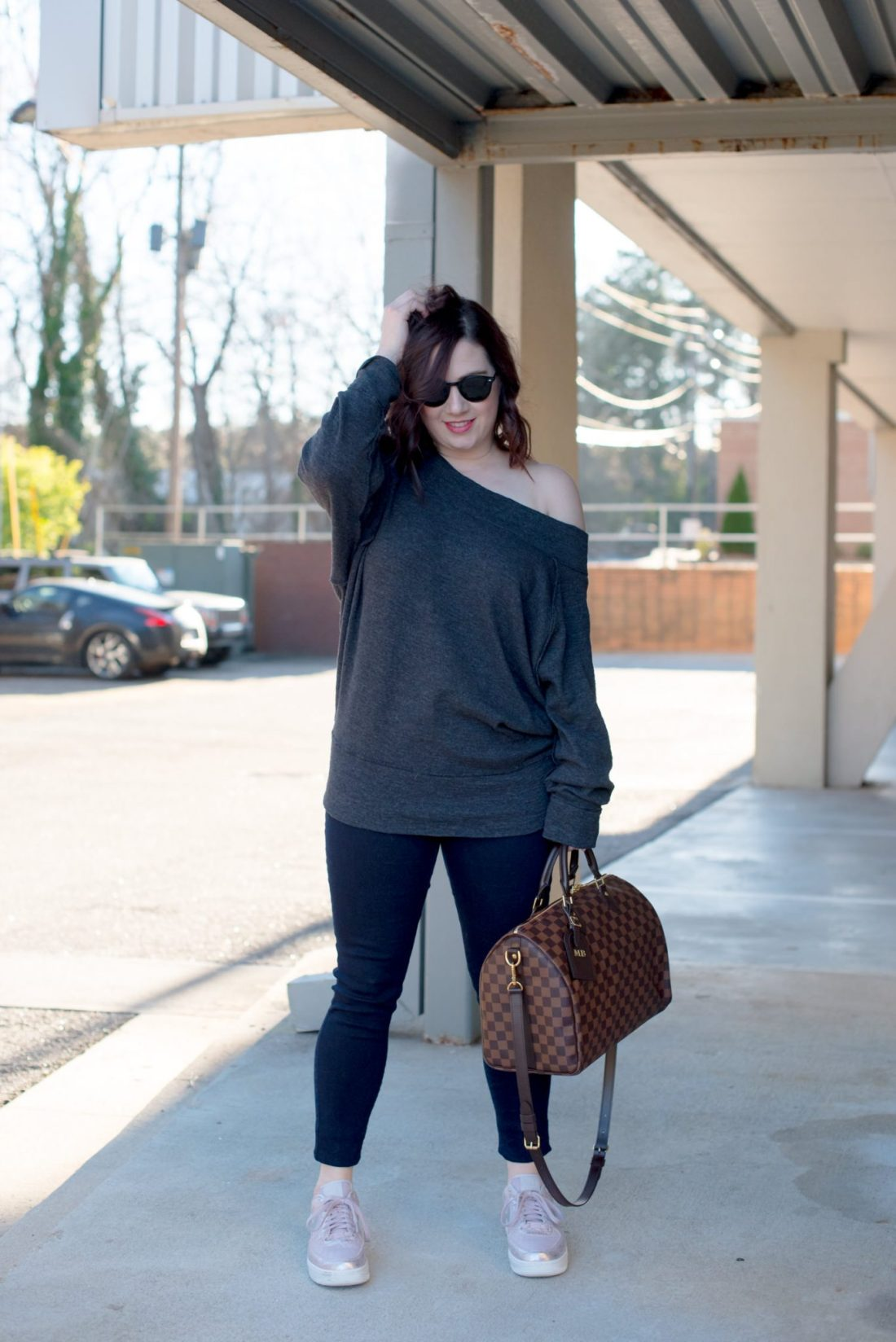 Free People Gray Sweatshirt, Nike Air Force 1 Women // Miss Molly Moon
