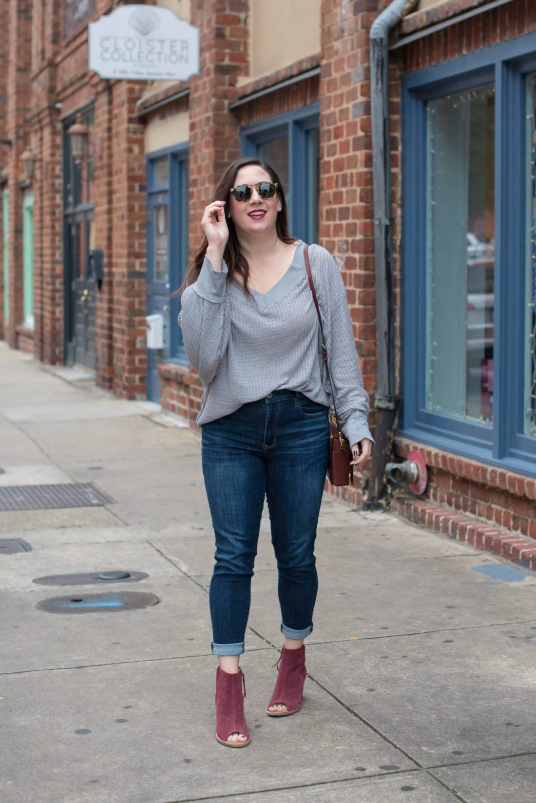 Try the Trend: Slouchy Thermals // Miss Molly Moon | Slouchy Free People Thermal Tops featured by top Atlanta fashion blog, Miss Molly Moon