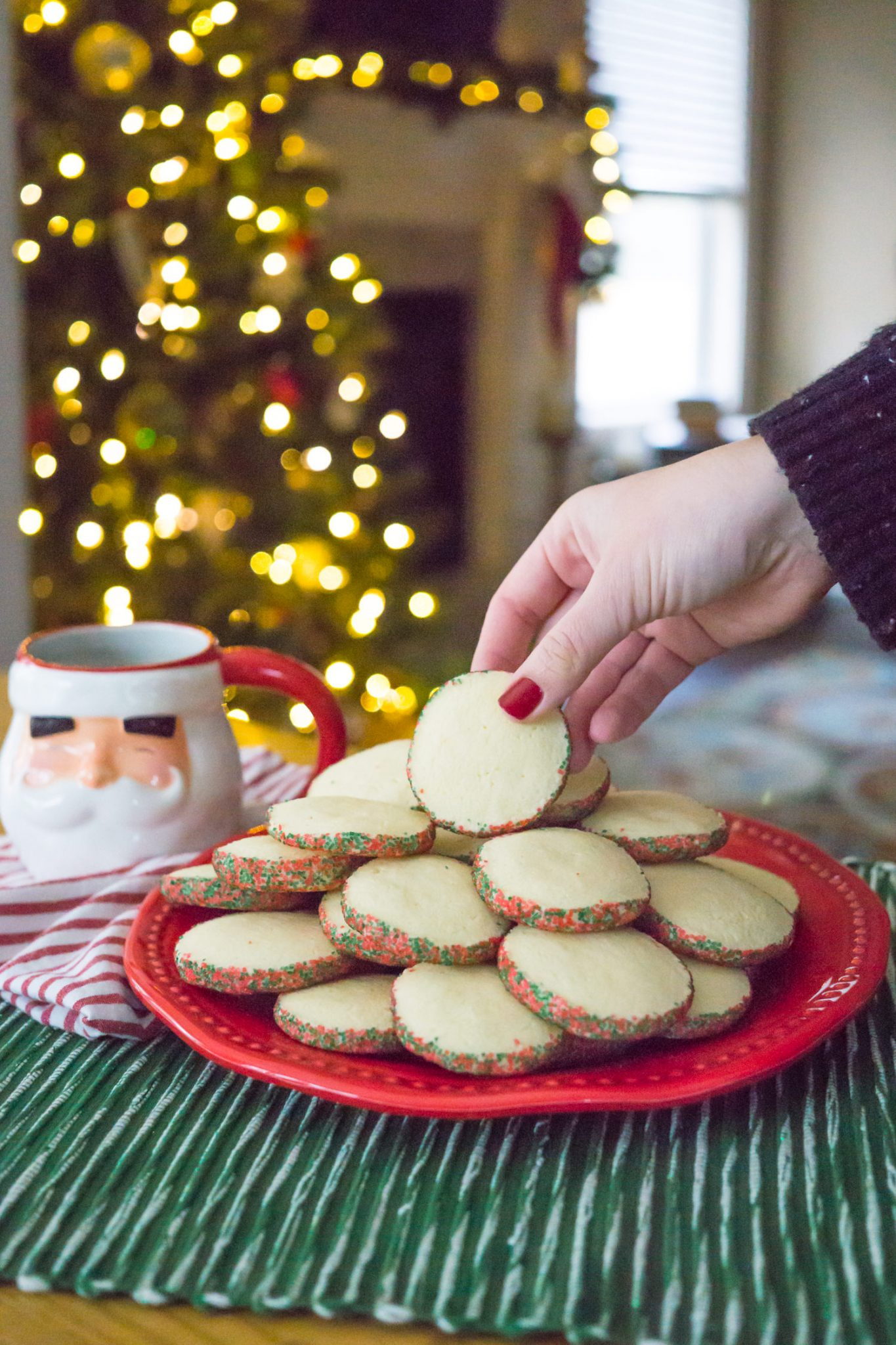 Easy Peppermint Sugar Cookies for the Holidays // Miss Molly Moon   Peppermint Southern Tea Cakes Recipe featured by top Atlanta foodie blogger, Miss Molly Moon