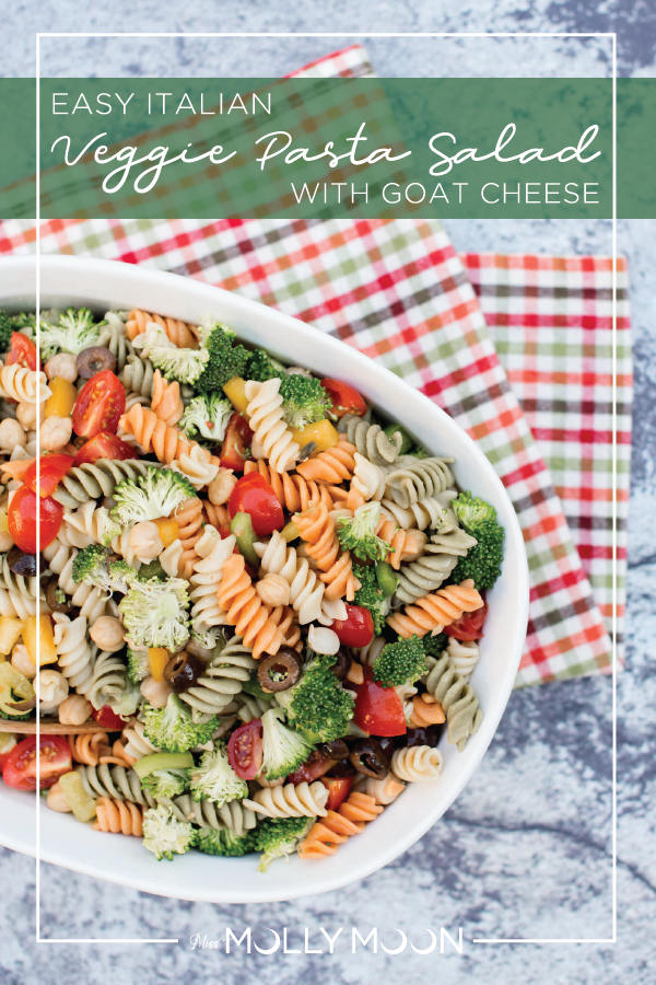 Easy Veggie Pasta Salad with Goat Cheese // Miss Molly Moon