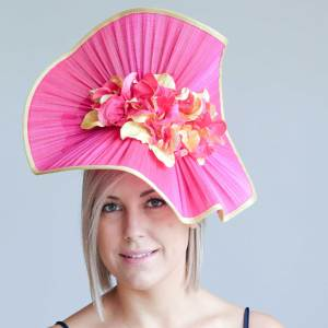 Hot Pink Wired Gin Sin Hat from Miss Moo Millinery