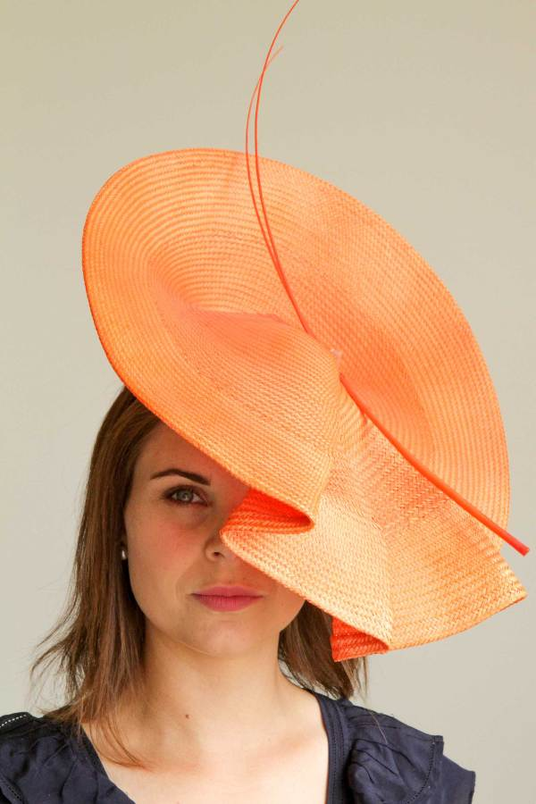 Large Orange Straw Hat by Miss Moo Millinery