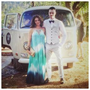 Celebrating in style with the ever dapper @hunterfite at @caseyfitz4 wedding! #vonderfitz #fashion #wedding #ootd #outfit #weddingguest #vwbus #instagood #love #style #hippiechic #amazing #weddedbliss #awesome #barefootbride #dress #lookbook #dapper #suit