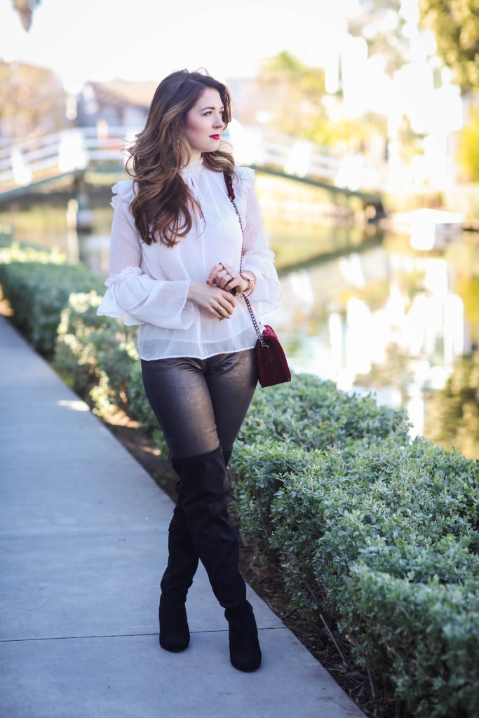 over the knee boots with coated denim