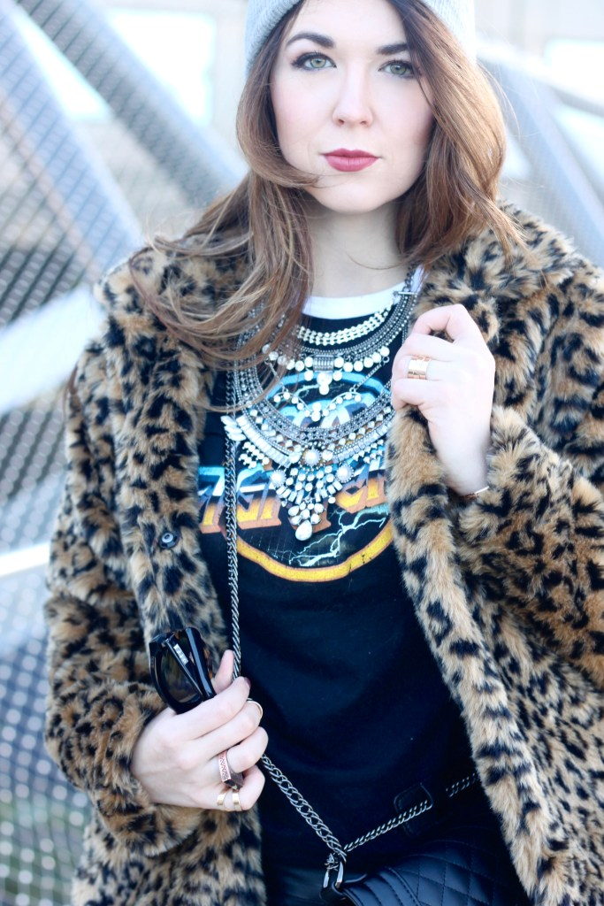 Statement necklace with a band t-shirt