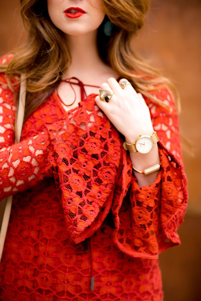 red lace bell-sleeve dress