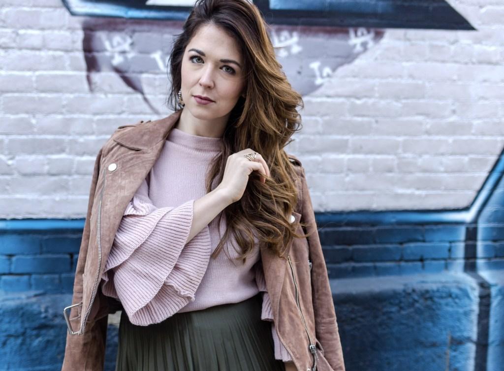Pink ruffle sleeve sweater