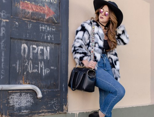 mom jeans faux fur coat
