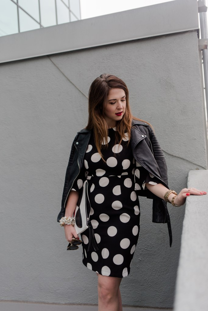 polka dots with leather jacket