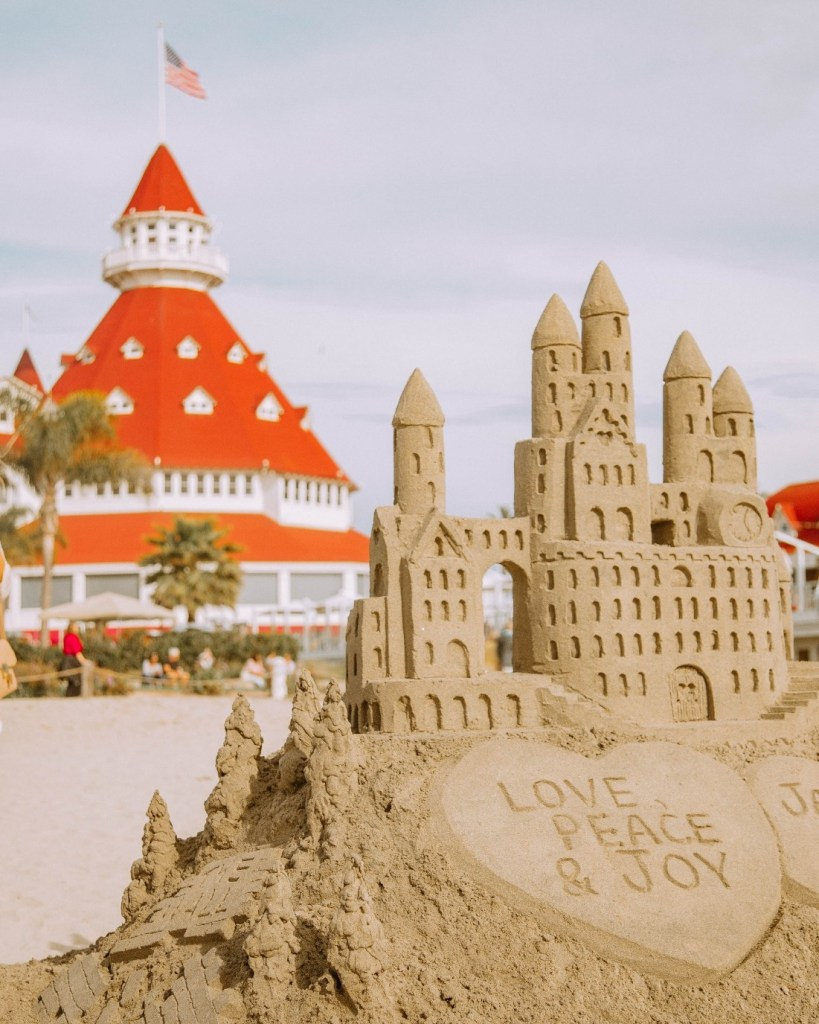 Sand castle on the beach at Hotel Del Coronado San Diego, CA
