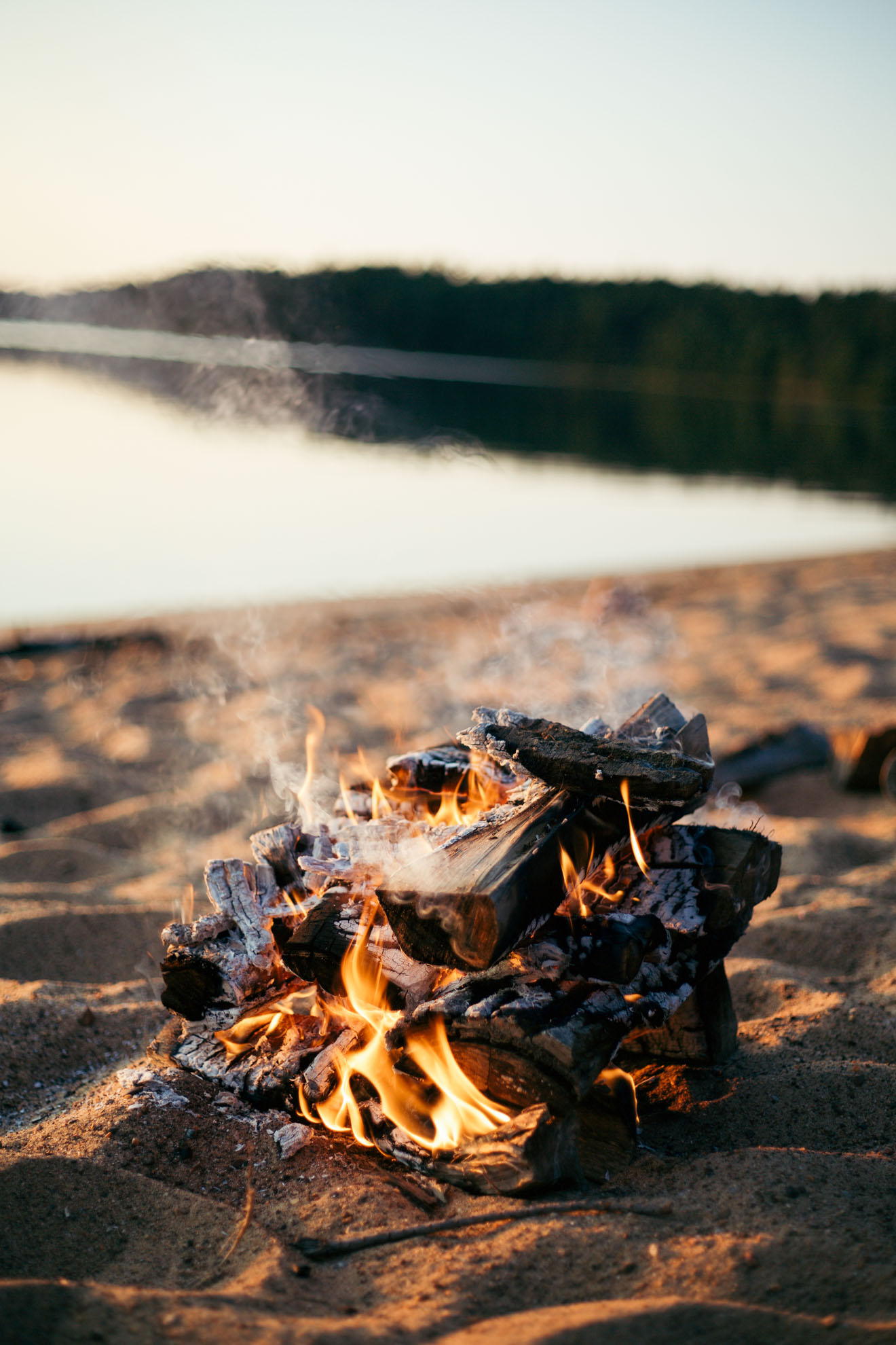 campfire on the beach at sunset