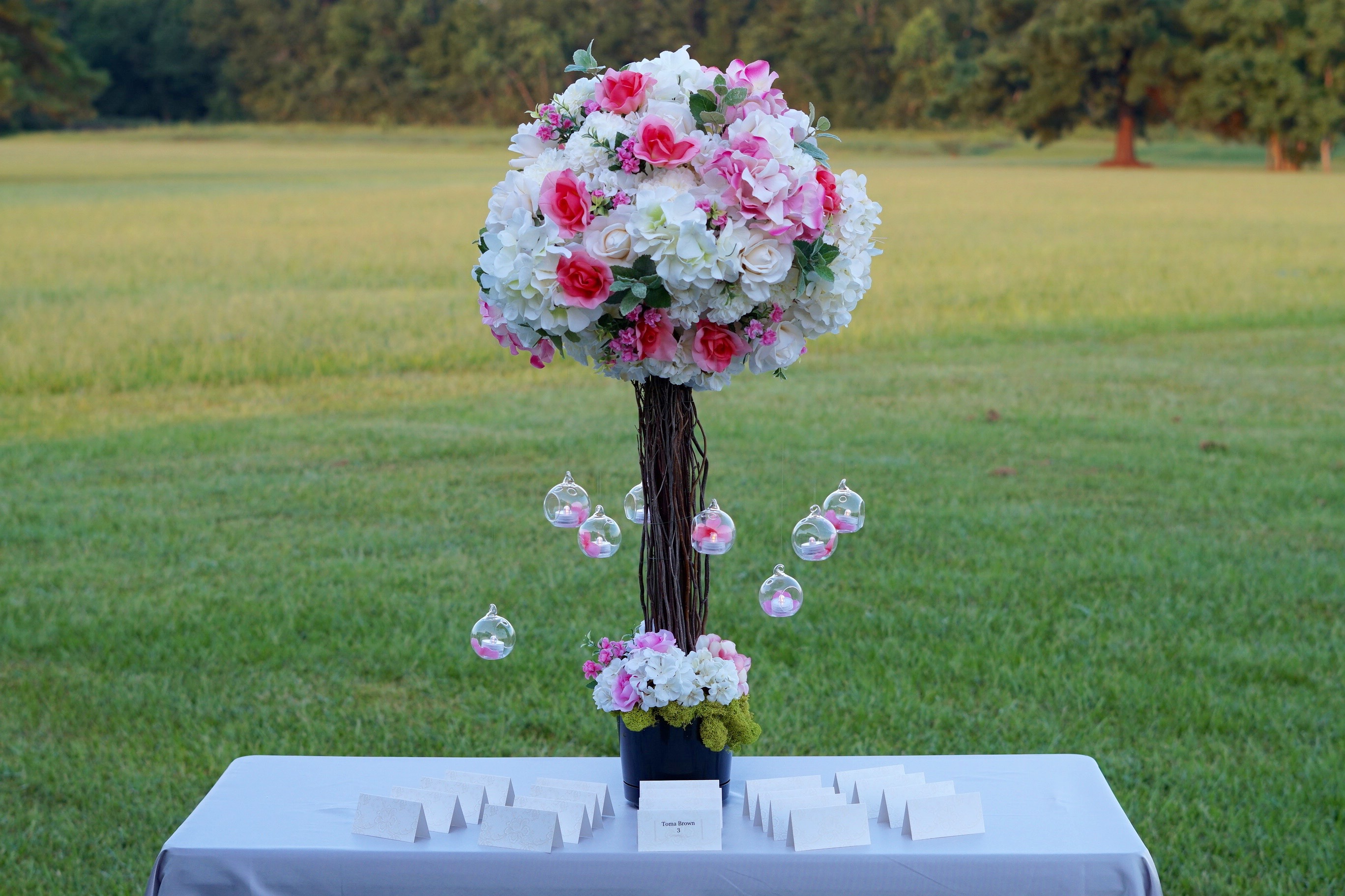 Pretty in pink diy branch wedding centerpiece for your reception pink wedding centerpiece junglespirit Image collections
