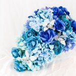 Diy 1 Hydrangeas Something Blue Cascading Wedding Bouquet