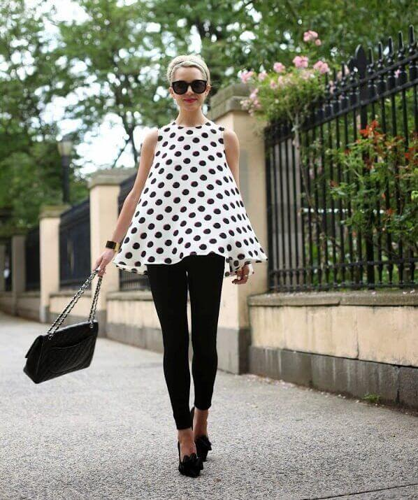 2. polka dots top with black leggings - 7 Chic Outfit Ideas: What to Wear with Leggings