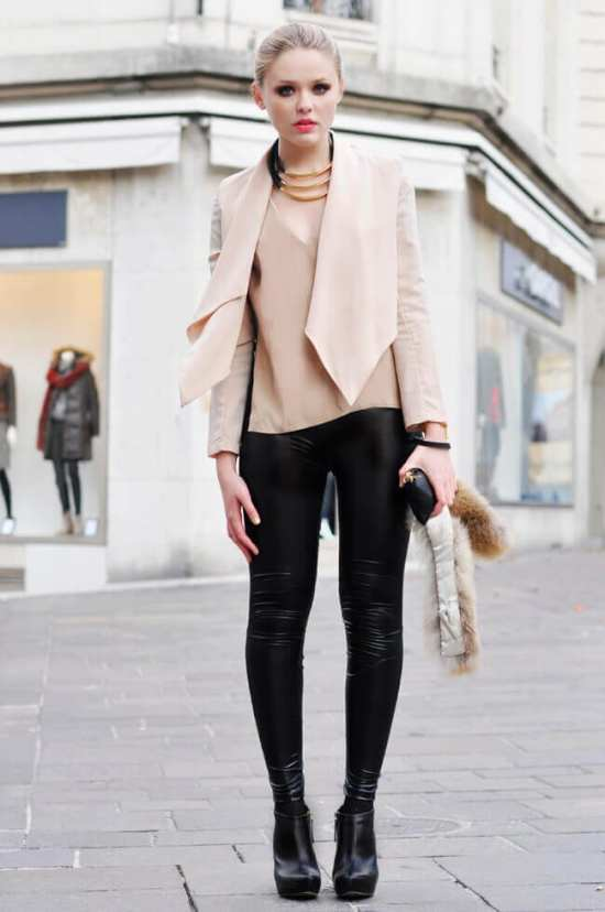 3. liquid leggings and boots with nude top - 7 Chic Outfit Ideas: What to Wear with Leggings