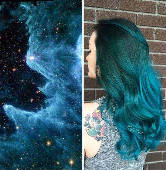 galaxy hair style one shade blue - Galaxy Hair: How to Do It At Home and Amazing Hairstyles You Need to Try