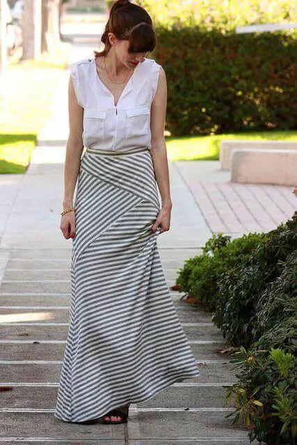 White Sleeveless Blouse with Maxi Skirt