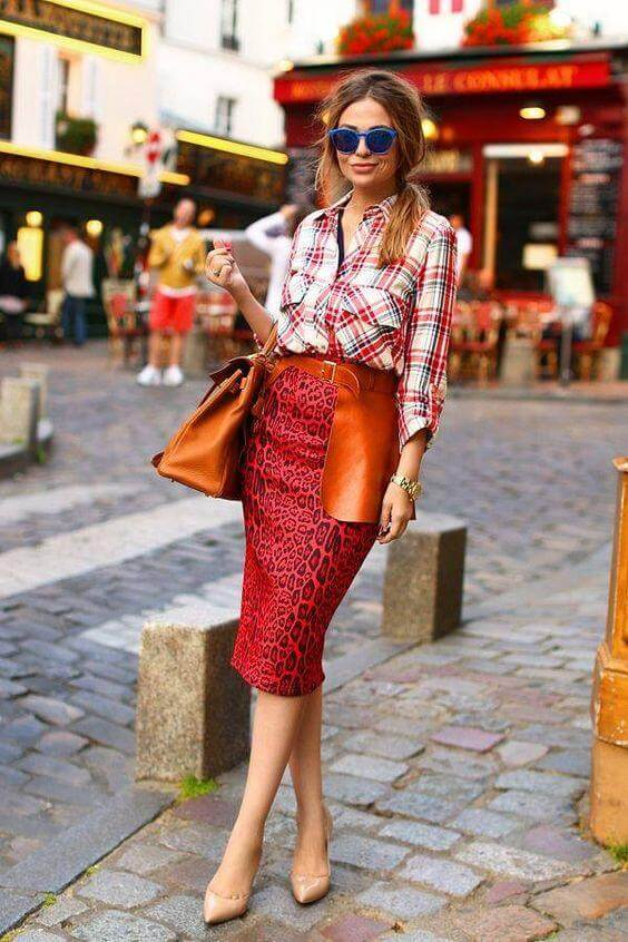 Midi Pencil Skirt with a Mishmash of Colors and Prints