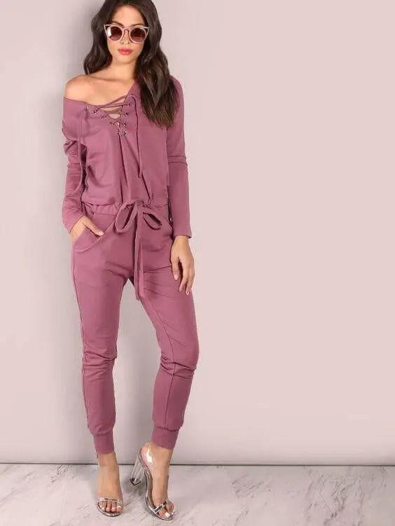 Lace-up Style Jumpsuit