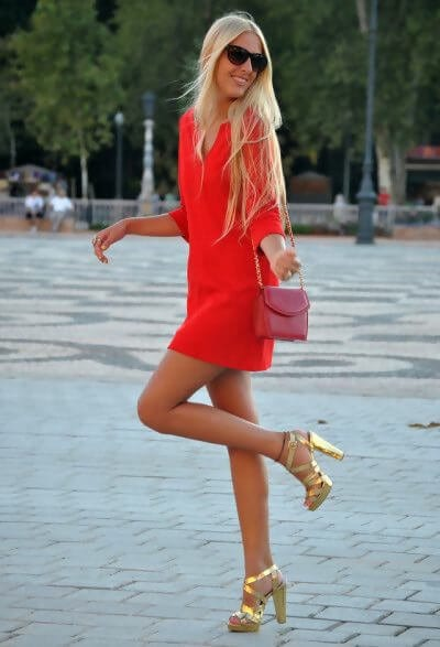 Red Dress With Gold Heels