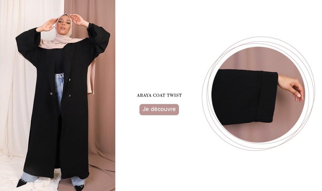 Dans notre collection hiver : La Abaya Coat Twist en crêpe noir