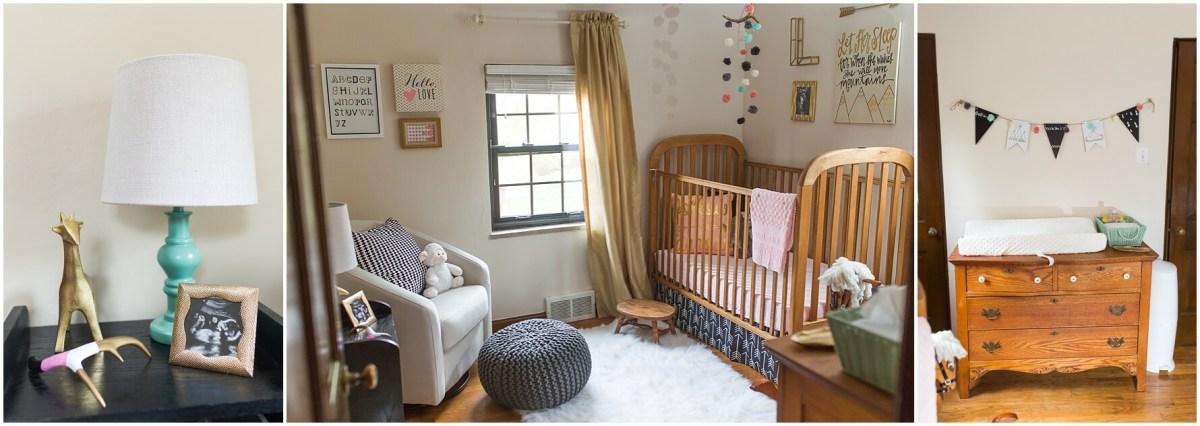 black nursery decor wood crib pink teal purple nursery land of nod pottery barn nursery details