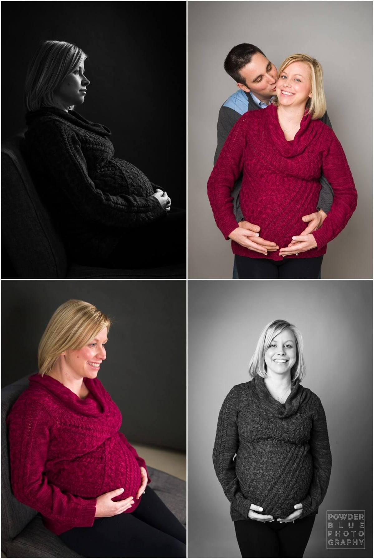 maternity portrait taken in a pittsburgh maternity photography studio. black and white and color images of twin pregnancy.