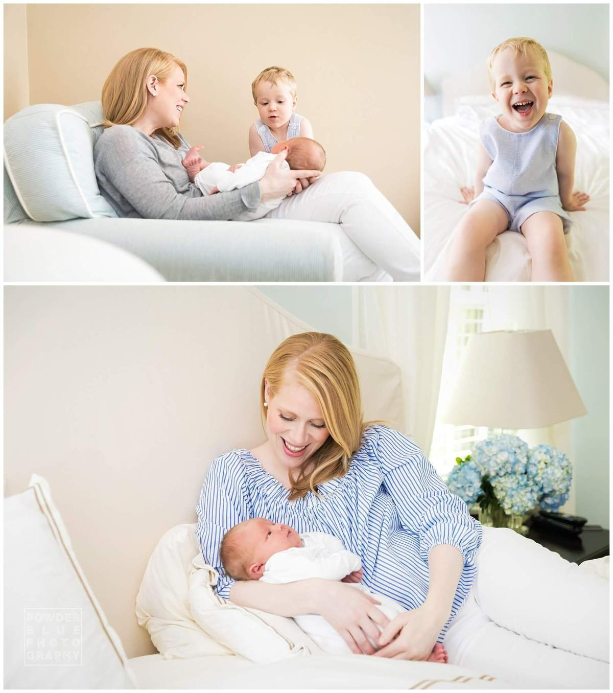 blue and white, neutral interior, newborn, toddler, mom and newborn