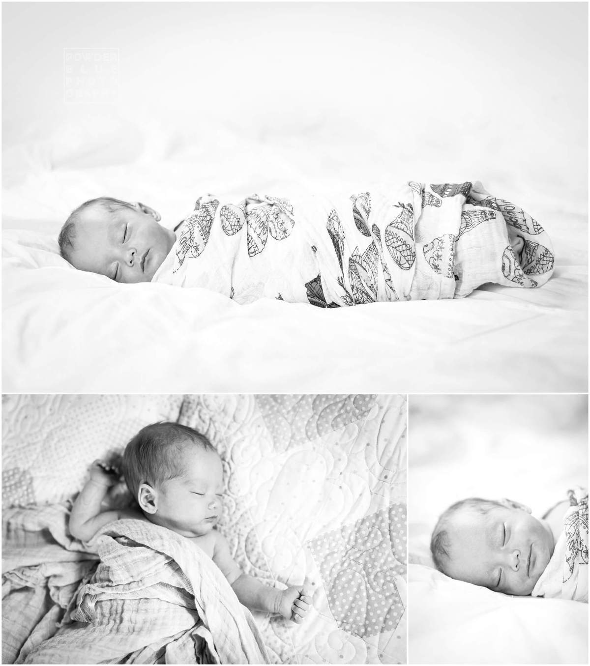black and white baby portrait on a bed