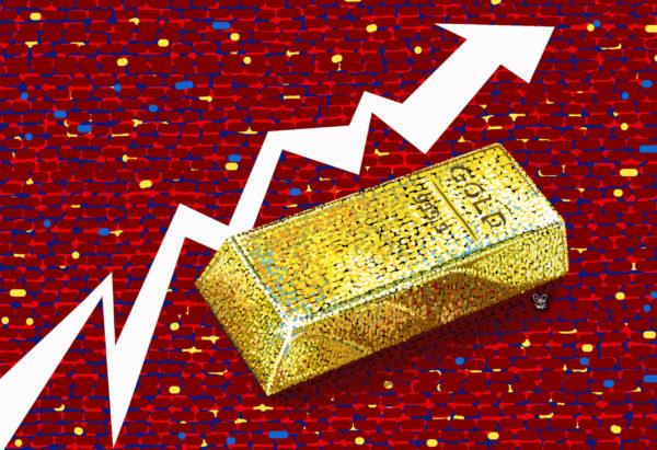 harga emas global di arena pasar spot menguat