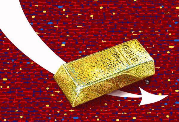 harga emas dunia di pasar spot melemah