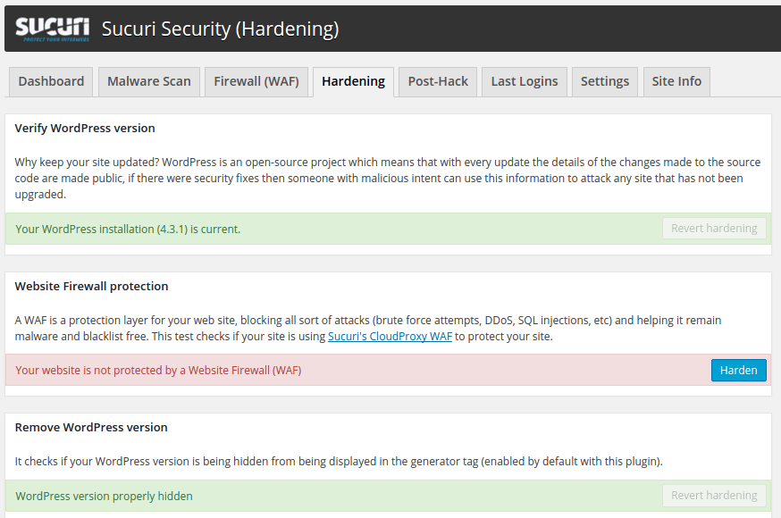 sucuri security hardening