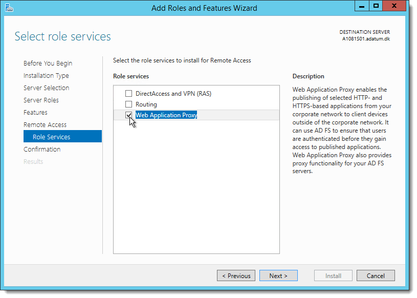 How to install and configure Web Application Proxy for ADFS