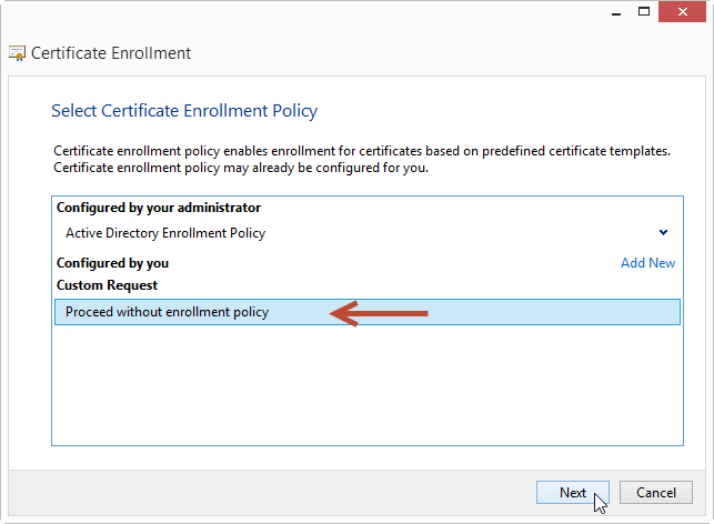 How to request custom certificates using the mmc snapin mister on custom request page under the template options select no template legacy key and select the pkcs 10 request format option yelopaper Choice Image